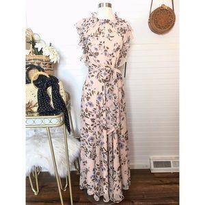 NEW Tahari Floral Swiss Dot Ruffle Maxi Dress